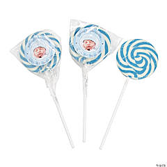 Personalized Baby Boy Announcement Swirl Lollipops