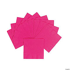 Personalized Beverage Napkins - Hot Pink with Silver Print