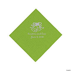 Personalized Beverage Napkins - Lime Green with Silver Print