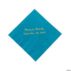 Personalized Beverage Napkins - Turquoise with Gold Print
