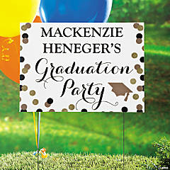 Personalized Black & Gold Graduation Yard Sign