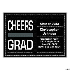 2016 Personalized Black & White Grad Invitations