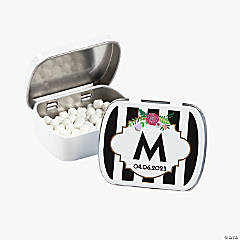 Personalized Black & White Striped Monogrammed Mint Tins