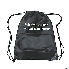 Personalized Black Drawstring Backpacks