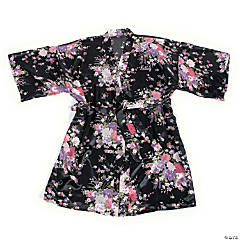 Personalized Black Floral Robe