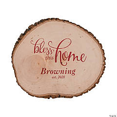 Personalized Bless this Home Basswood Slice