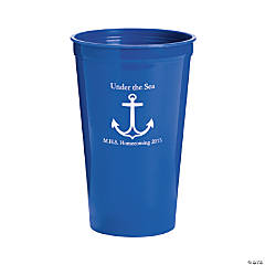 Personalized Blue Anchor Tumblers