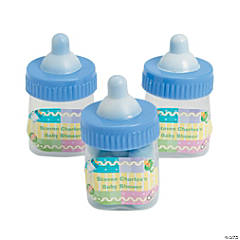 Personalized Blue Baby Bottle Favor Containers