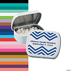 Personalized Blue Chevron Mint Tins