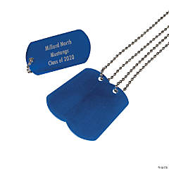 Personalized Blue Dog Tag Necklaces