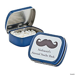 Personalized Blue Mustache Mint Tins