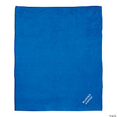 Personalized Blue Stadium Blanket with White Embroidery