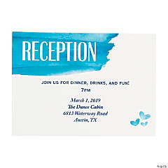 Personalized Blue Watercolor Reception Cards