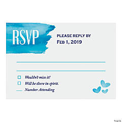 Personalized Blue Watercolor RSVP Cards
