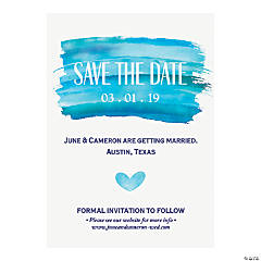 Personalized Blue Watercolor Save the Date Cards