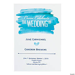 Personalized Blue Watercolor Wedding Invitations