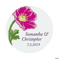 Personalized Bright Flower Wedding Favor Stickers