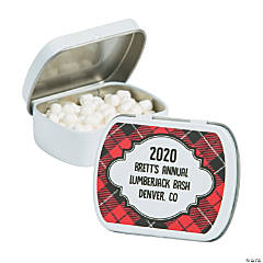 Personalized Buffalo Plaid Mint Tins