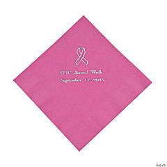 Personalized Candy Pink Ribbon Luncheon Napkins - Silver Print