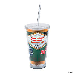 Personalized Casino Tumbler with Lid & Straw
