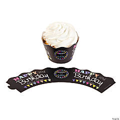 Personalized Chalkboard Birthday Cupcake Collars