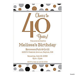 Personalized Cheers to 40 Years Invitations
