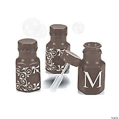 Personalized Chocolate Monogram Wedding Mini Bubble Bottles