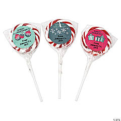 Personalized Christmas Swirl Lollipops