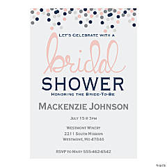 Personalized Confetti Bridal Shower Invitations