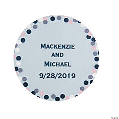 Personalized Confetti Design Wedding Favor Stickers