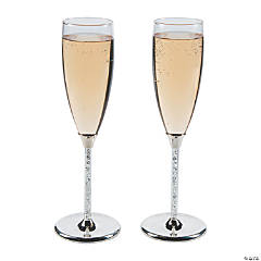 Personalized Crystalline Champagne Toasting Flutes