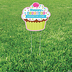 Personalized Cupcake Party Yard Sign