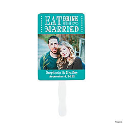Personalized Custom Photo Eat Drink and Be Married Wedding Fans