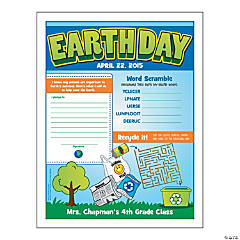 Personalized Earth Day Activity Sheets