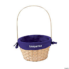 Personalized Easter Basket with Purple Liner