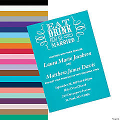 Personalized Eat, Drink & Be Married Wedding Invitations