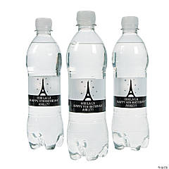 Personalized Eiffel Tower Water Bottle Labels