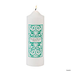 Personalized Emerald Wedding Pillar Candle