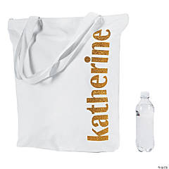Personalized Extra Large Gold Glitter Canvas Zipper Tote Bag