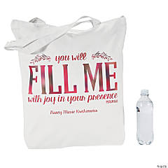 Personalized Extra Large Religious Canvas Zipper Tote Bag