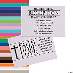 Personalized Faith, Hope, Love Wedding Reception Cards