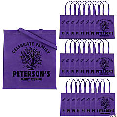 Personalized Family Tree Purple Tote Bags