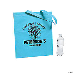 Personalized Family Tree Teal Tote Bags
