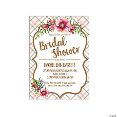 Personalized Floral Plaid Bridal Shower Invitations