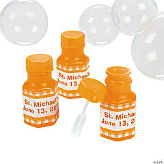 Personalized Gingham Bubble Bottles - Orange