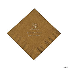 Personalized Gold And Gold 50th Anniversary Luncheon Napkins