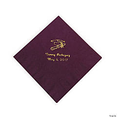 Personalized Gold Burgundy Graduation Luncheon Napkins