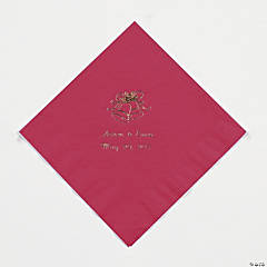 50 Personalized Gold Burgundy Wedding Beverage Napkins