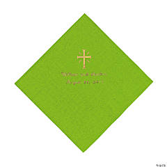 Personalized Gold Cross Beverage Napkins - Lime Green
