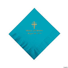 Personalized Gold Cross Beverage Napkins - Turquoise